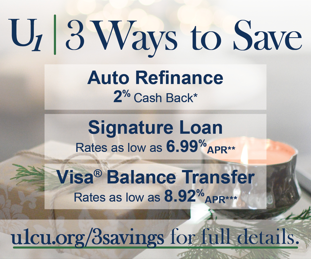 3 Ways to Save. 2% cash back on Auto Refinancing. Signature loan rates as low as 6.99% APR. VISA $0 Balance Transfer fee