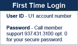 Universal 1 credit Union online banking first time login