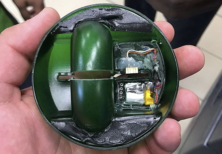 Inside an ATM skimming device
