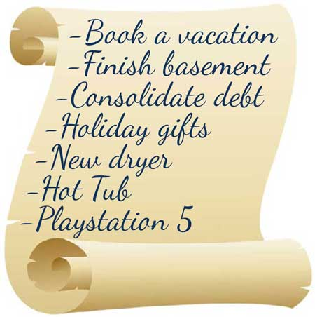 What's on your wish list? Book a vacation, finish basement, consolidate debt, holiday gifts, etc.