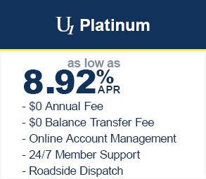 Platinum VISA at 8.92% with $0 balance transfer fee and no annual fee. Online account management and 24/7 member support.